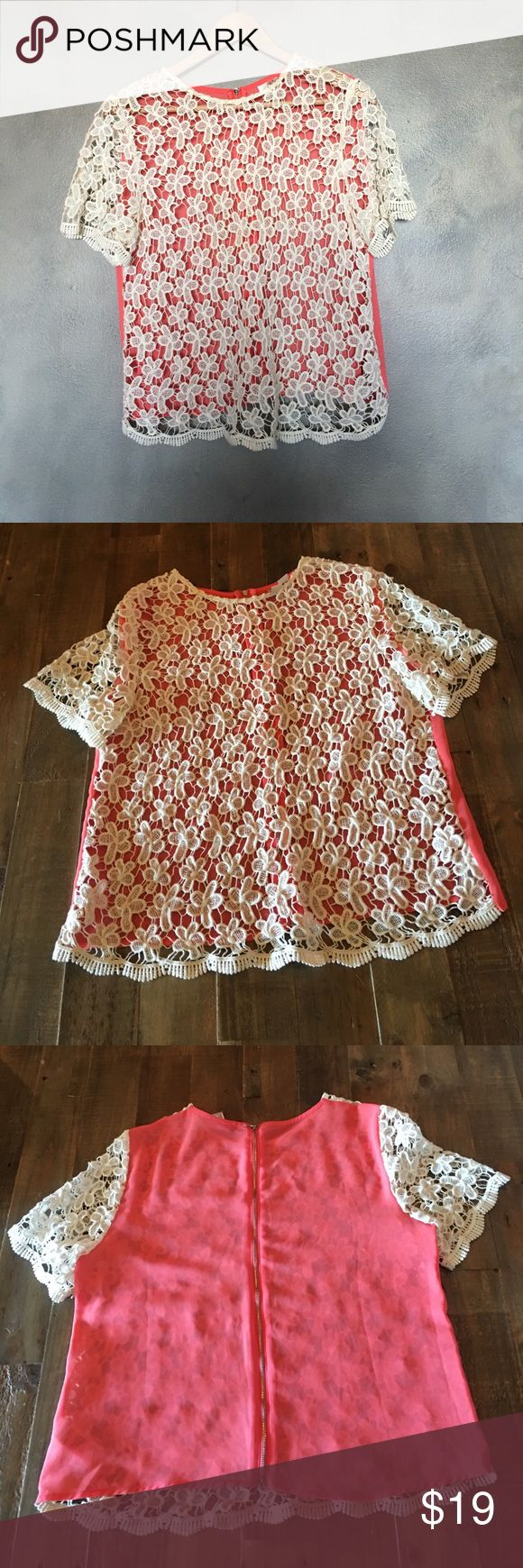 """Two-tone crochet top Layer this baby up for an irresistible look that has the stylish and put-together stamp of approval. I'd wear it with a pleated navy midi skirt for a September stroll. Crochet is cotton, salmon side is polyester. Height 22"""" pit to pit 18"""" basically like new. Forever 21 Tops Blouses"""