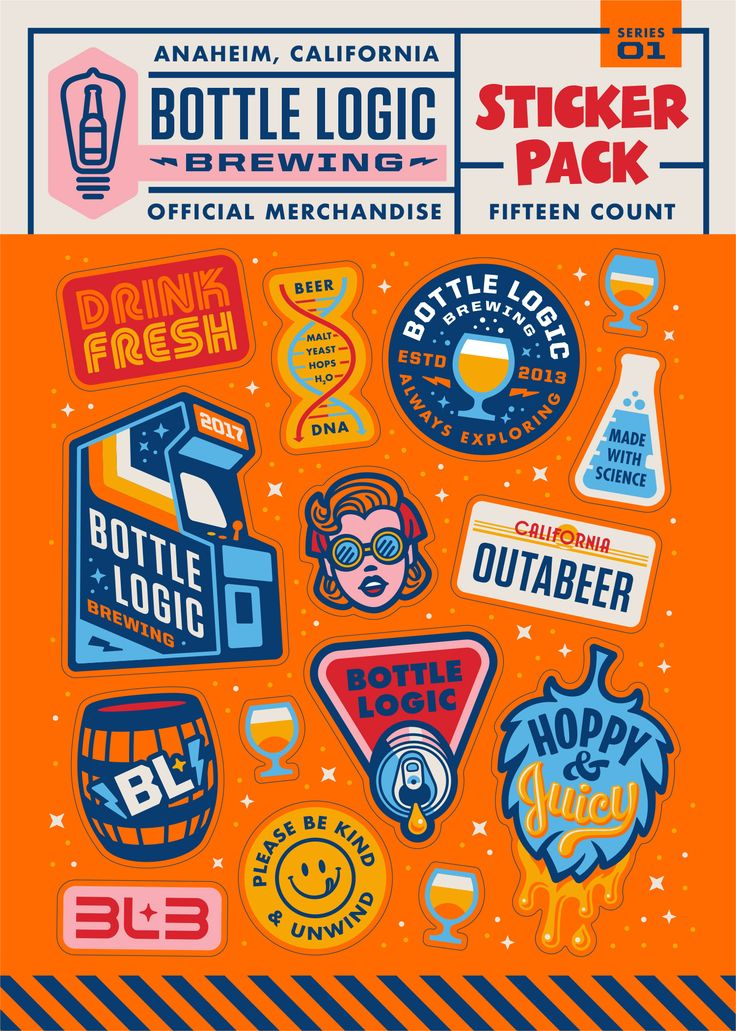 Sticker pack for bottle logic brewing loving the oranges and very otherwise pop y