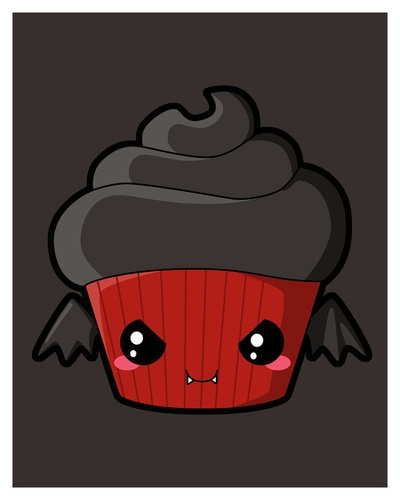 Vampire Cupcake Art Print by Piktorama