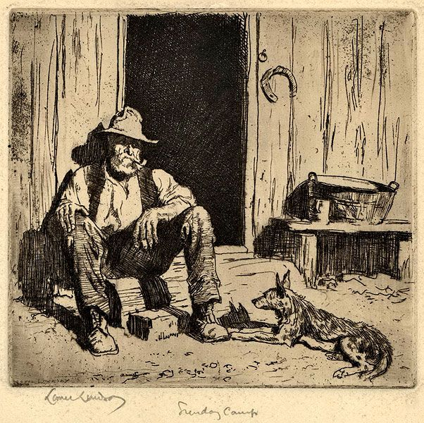Lionel Lindsay Australian, 1874-1961 Sunday Camp, 1925. Etching, signed in plate lower left, signed and titled by Lindsay and annotated by son Peter Lindsay in pencil in lower margin