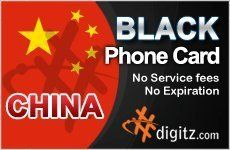 China prepaid phone card only .... $19.99. Digitz International Prepaid Calling and Phone Cards that have many features including easy recharging, auto-recharge. Digitz offers great quality of international calls to any cellular and landline in China! + Prepaid Calling & Phone Cards + Cheap Calling & Phone Cards + International Calling Cards + Long Distance Phone Cards + Calling Cards in International Services  **ALL RATES ARE BASED ON USING LOCAL ACCESS USING TOLL FREE ACCESS WI...