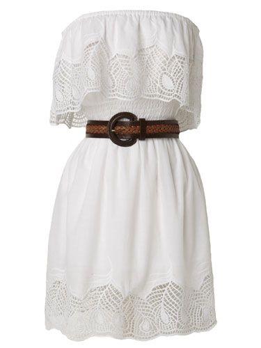 strapless white dress with waist belt