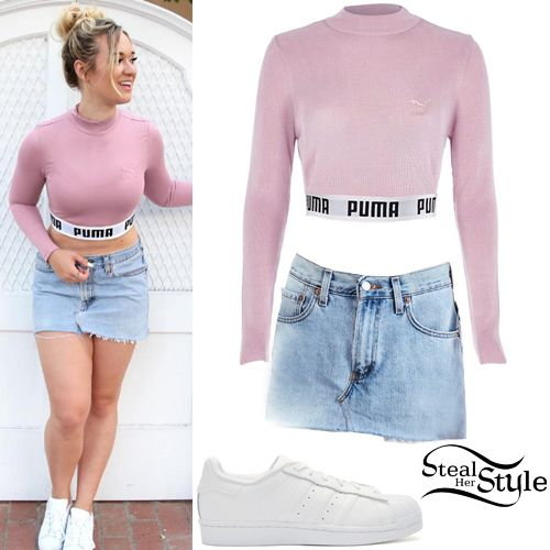 Alisha Marie posted a picture on instagram a few days ago wearing a Puma Exclusive To ASOS Cropped High Neck Sweat Co Ord ($46.00), an Urban Renewal Recycled Denim Mini Skirt ($69.00) and Adidas Originals Superstar Sneakers ($80.00).