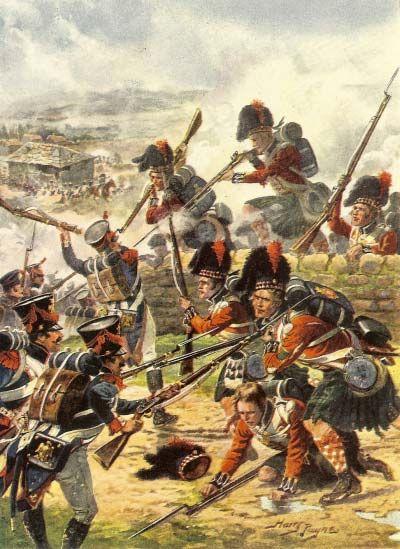 El 42º Rgto. de Highlanders británico se lanzan al combate contra las posiciones francesas durante la batalla de La Coruña el 16 de Enero 1809.