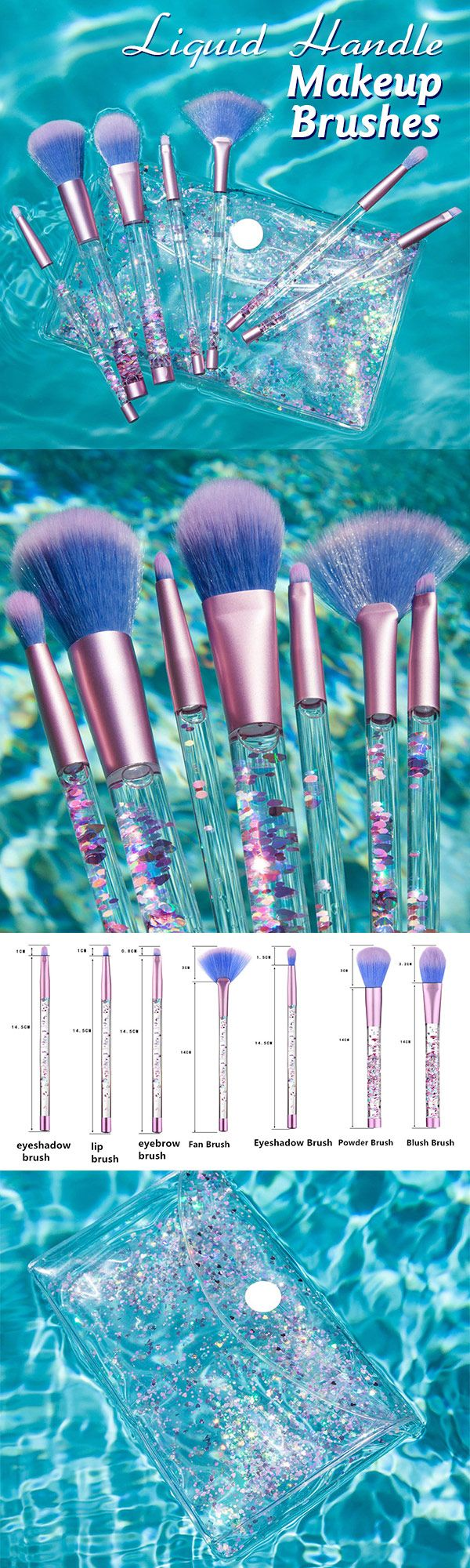 7Pcs/Set Glitter Mermaid Liquid Handle Makeup Brushes Set Eyeshadow Powder Blush Brush