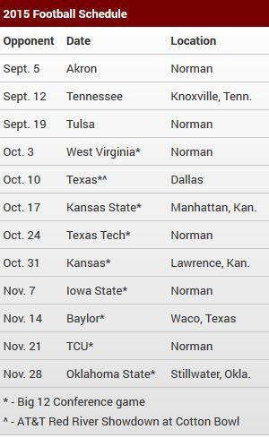 university of oklahoma football schedule 2015 - Google Search