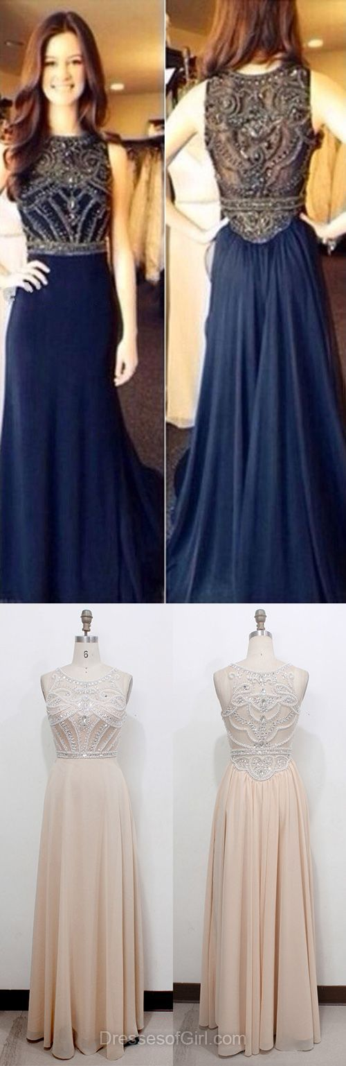 Cool Prom Dresses Champagne Scoop Neck Tulle Chiffon with Beading Floor-length Unique Prom Dress... Check more at http://24shopping.gq/fashion/prom-dresses-champagne-scoop-neck-tulle-chiffon-with-beading-floor-length-unique-prom-dress-2/