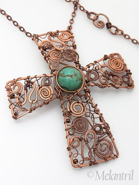 Beautiful copper wire cross w turquoise center bead  Lacroix by Melantril, via Flickr