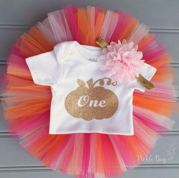Orange and Pink First Birthday Tutu Set Pumpkin Tutu by PICKLEBUG
