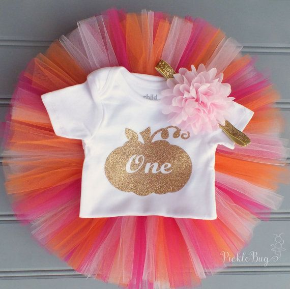 Orange and Pink First Birthday Tutu Set Pumpkin Tutu by PICKLEBUG
