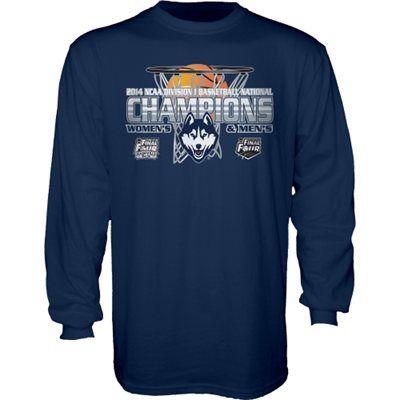 UConn Huskies 2014 NCAA Men's & Women's Basketball National Champions Dual Basketball Champs Long Sleeve T-Shirt - Navy Blue