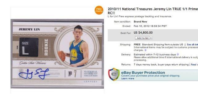 Jeremy Lin S Laundry Tag Basketball Card Recently Sold On Ebay For 4 800 Laundry Tags Basketball Cards Jeremy Lin
