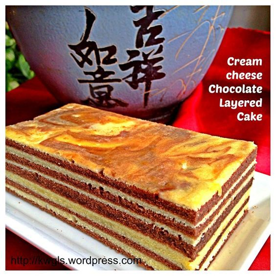 Cream cheese chocolate layered cake