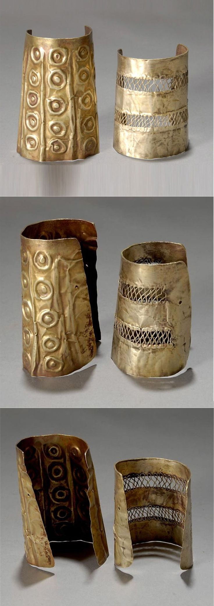 Two ancient ANDEAN wrist guards or cuffs, Moche or related people, Peru, circa 400 - 1100 A.D. Gold and silver. One with embossed rows of circle and dot pattern, the other with two filigree bands. Largest 4 1/4 x 3 inches.