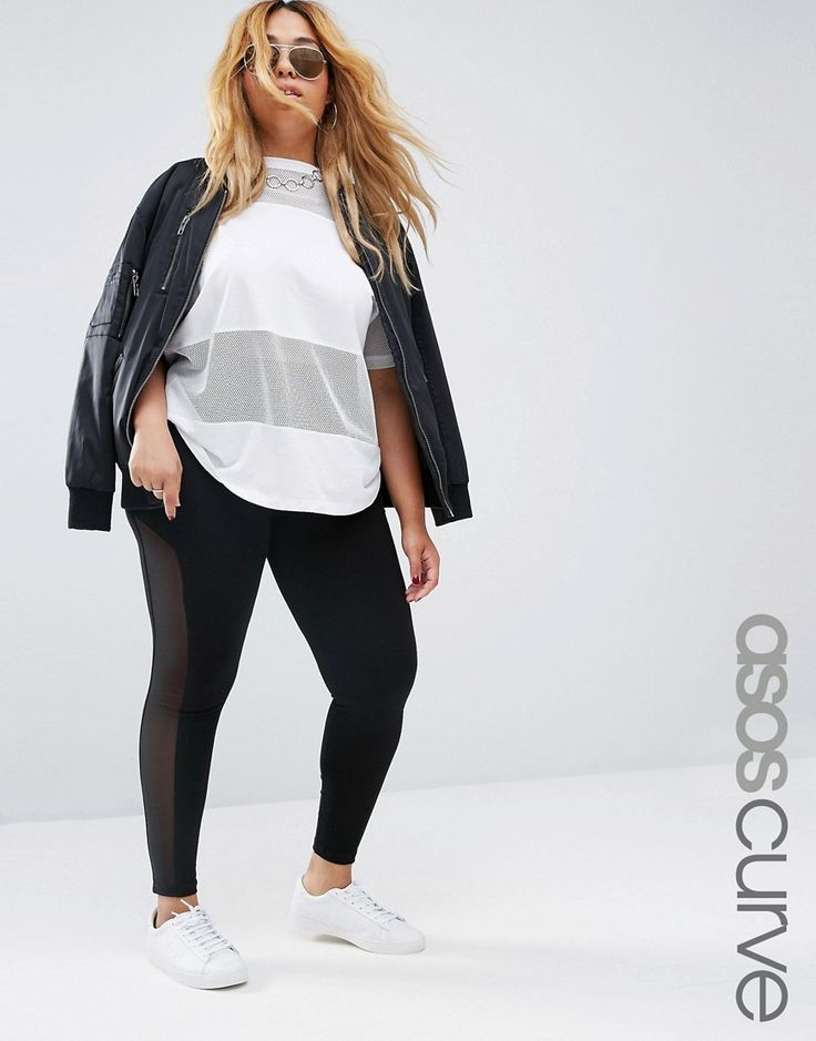 Image 1 of ASOS CURVE Leggings with Mesh Side Insert