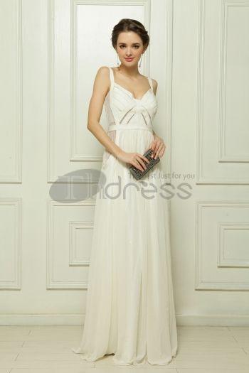 Abiti in Magazzino-Elastico composito filo banda di perline abito da sera bianco