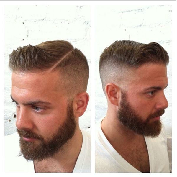 I could do without the shaved in part but the fade, the beard and the slick top, love it!!