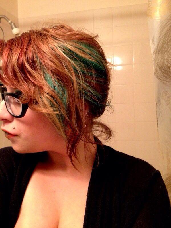Green chunk. Copper hair.