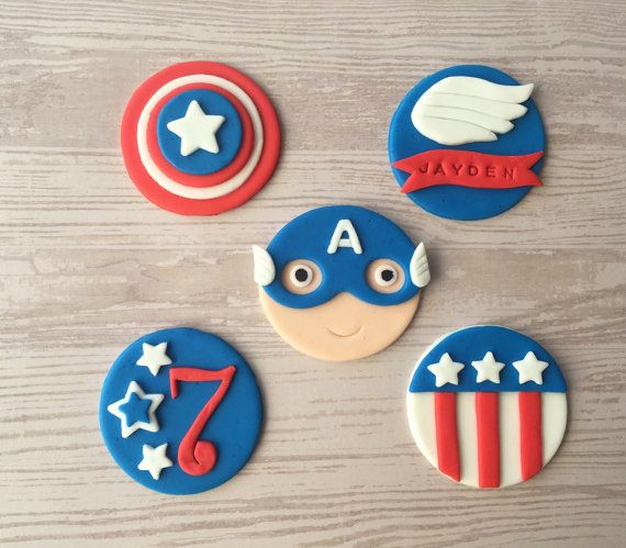 12 Captain America Fondant Cupcake Toppers by HoneyTheCake on Etsy