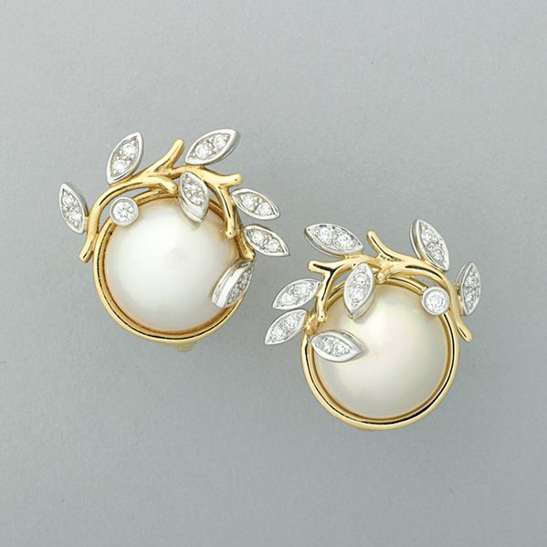 "TIFFANY & CO. ""GARLAND"" MABE PEARL DIAMOND EARRINGS"