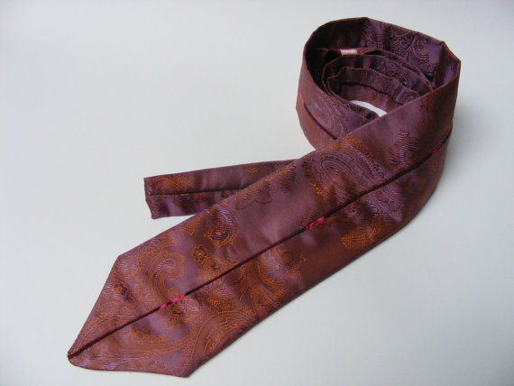 Men's Necktie with Colorful Piping - $25 - This hand-sewn purple/copper tie features a damask pattern and has a 131 cm length and 7.5 cm width.