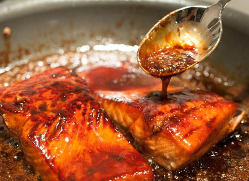 Bourbon Glazed Salmon - from EntertainingCouple.com