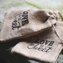LOVE is Sweet wedding candy bag Drawstring / burlap pouch/ burlap sack/Rustic jute bag for any party Decorations(China (Mainland))