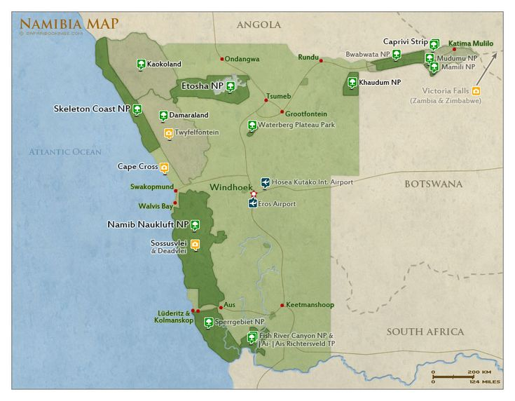 #Map of Namibia with national parks and #highlights for safaris | #Namibia Safari Travel Guide – with info about: Parks, Best Time to visit, Photos, Videos & Reviews!