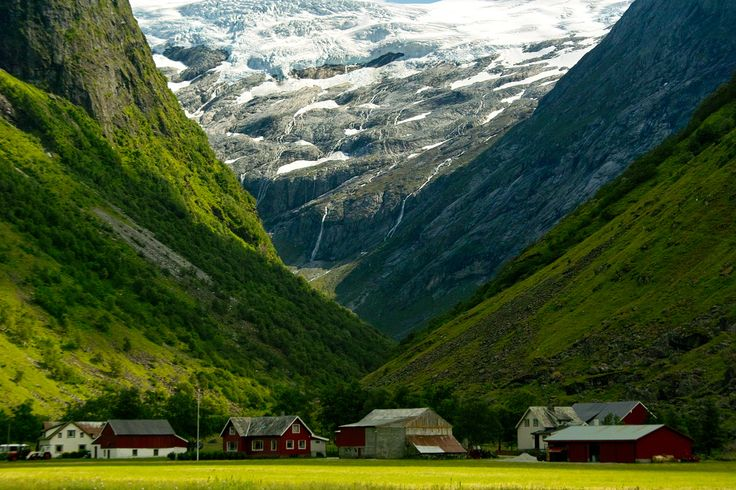 The Stardalen valley, Norway. Nature at its best: green valleys, mountains and glaciers, and typical Norwegian houses (wooden and red and white) all in one view. | Flickr