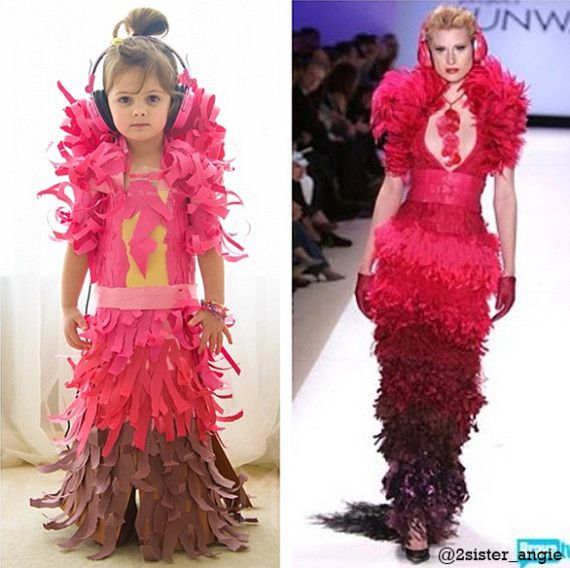 Amazing photo series: A 4 year old in construction paper dresses she makes. Talk about crafty!