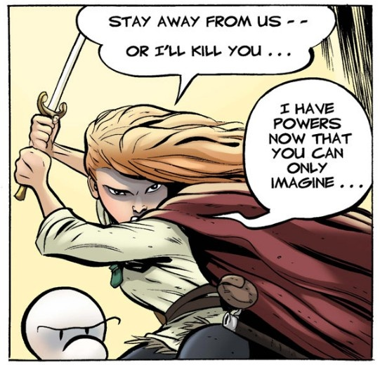 """#Thorn is one tough cookie, see her in #action in Jeff Smith's award-winning series """"Bone."""" Discover the secrets of her mysterious past today!   #Comics #comiXology #ComicBook #Read"""