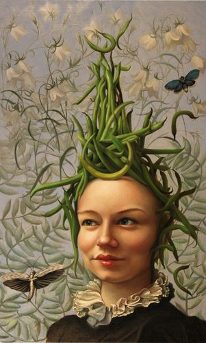 "JENNIFER KNAUS is an artist whose imagery comes from an interest in combining female iconography with still life painting / Seen here: ""Bean Head"", Oil on Panel, 2010"