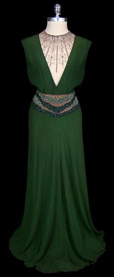 1930's: C 1930S, Dresses 1930S, 1930S Style, 1930S Vintage, 1930 S, 1930S Gowns, Green Dress, 1930S Dresses, 1930S Green