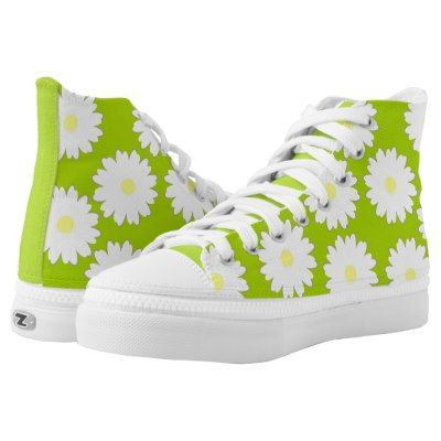Daisy pattern on green background printed shoes | Zazzle