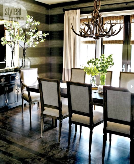 Love The Rustic Antler Chandelier In Combination With Contemporary Horizontal Striped Wallpaper