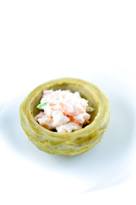 Artischockenherz, Lachs-Creme, pochierte Ei, geräucherter schottischer Lachs, Kaviar Osetra | Zen Can Cook