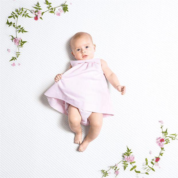 Robe de naissance Jacadi rose pour bébé fille, en piqué de coton