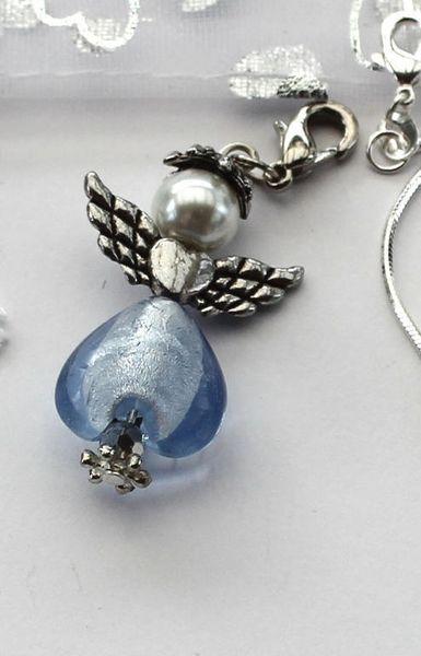 Halsband - Ängel - Blå med silverkedja - ca 5 cm