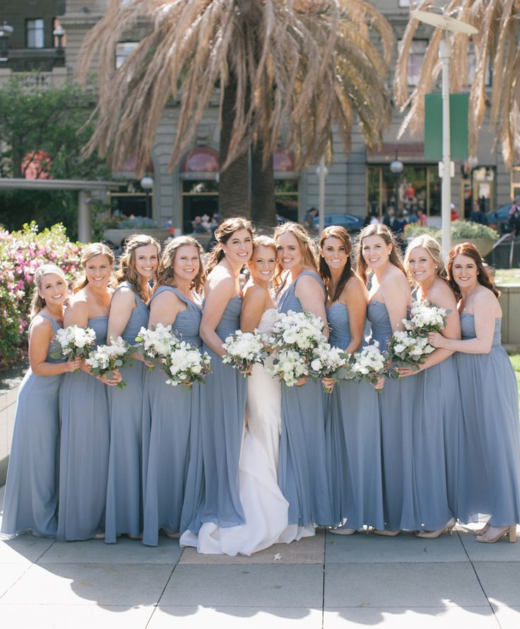 Elegant and airy long periwinkle bridesmaid dresses (Clane Gessel Photography)
