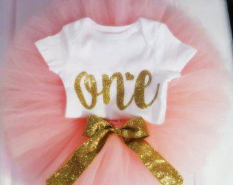 First Birthday Onesie Gold Glitter first birthday by CreativeLexi