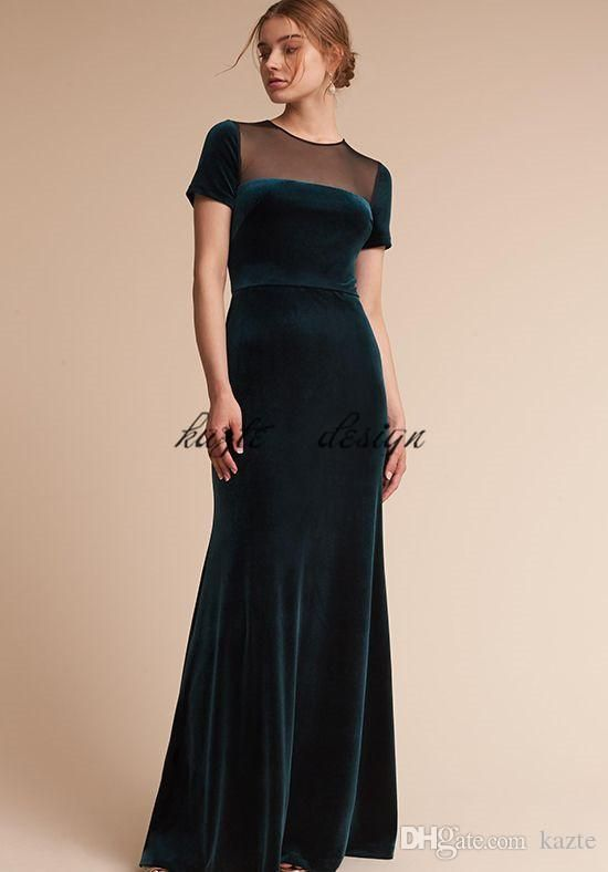 7cb6a9189a Teal Hunter Green Velvet Long Bridesmaid Dresses with Sleeves 2018 Custom  Make Sheer Back Maid of Honor Wedding Party Dress