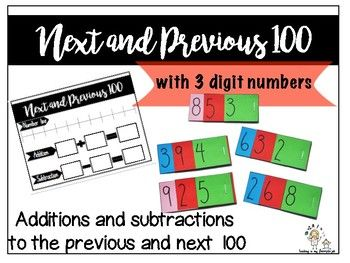PLACE VALUE: 3-digit numbers and their closest 100. This product comes with: - place value cards (3-digit, 2-digit, 1-digit) - a worksheet (number line, boxes for addition and subtraction) LOOK INSIDE to see more! Thank you!