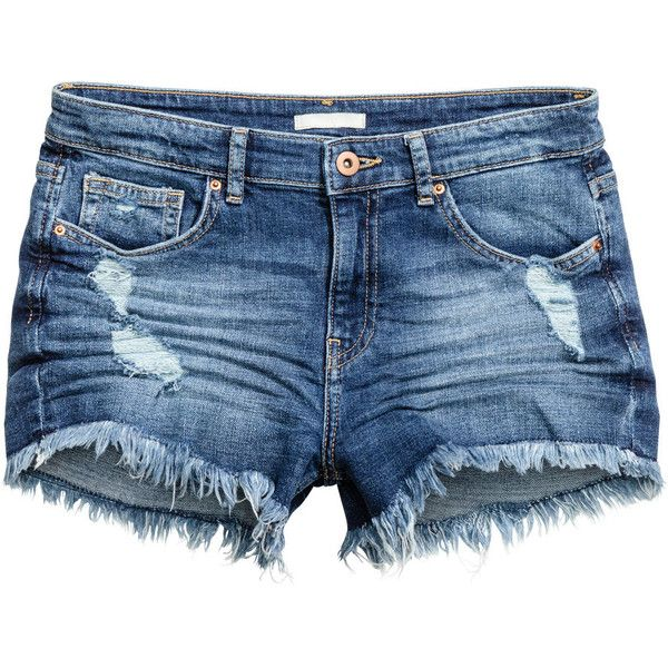 Denim Shorts $19.99 ($20) ❤ liked on Polyvore featuring shorts, ripped shorts, jean shorts, distressed shorts, blue shorts and denim short shorts