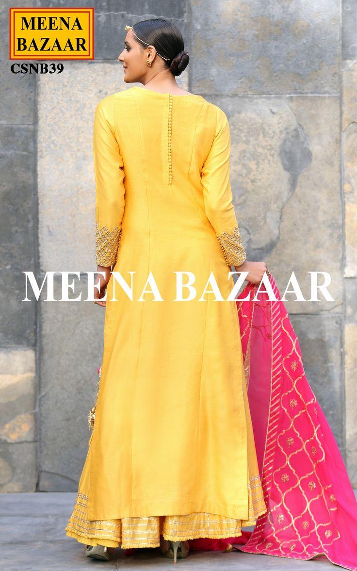 Yellow Chanderi Sharara Suit @ MeenaBazaar
