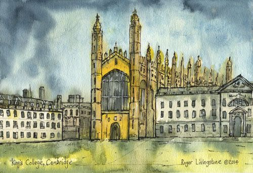 King's College Chape, Cambridge - Classic pen and watercolour by Roger Livingstone