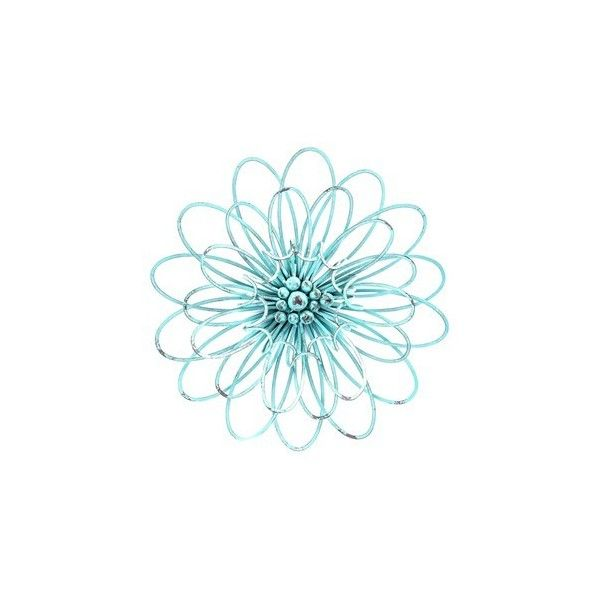 turquoise 3d metal flower wall decor featuring polyvore home home decor wall art