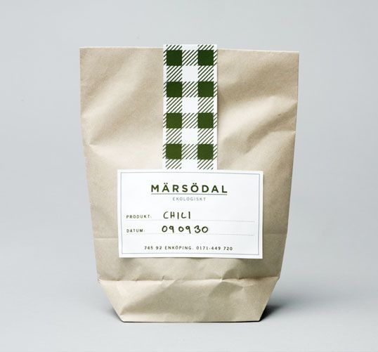 Märsödal. Packaging design concept for a line of ecological farm products. (love the gingham pattern tag)