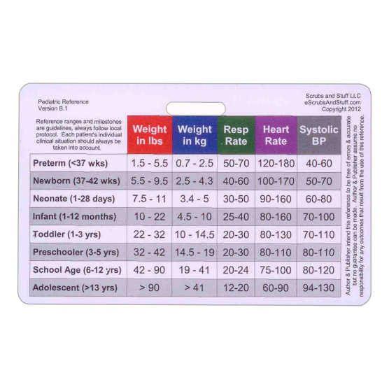 Pediatric Vital Signs & Developmental Milestones Horizontal Badge Card Accessory for Nurse Paramedic EMT ID Badge Clip Strap or Reel Pedi on Etsy, $1.99