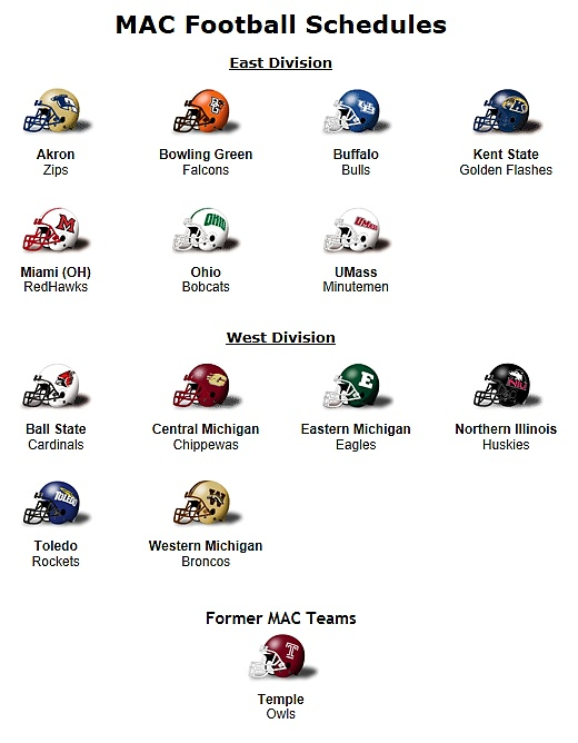 Mid - American Conference 2012 Football Schedule | MAC: Mid ...