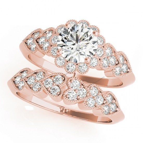 Unique Heart Style Rose Gold Round Cut Diamond Women's Bridal Wedding Ring Set #br925silverczjewelry